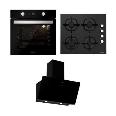 Silverline - Silverline Ankastre Set; BO6504B01 Fırın, CS5343B01 Cam Ocak, Soho Siyah 60cm Davlumbaz